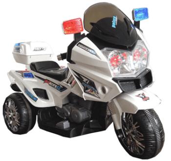 trimoto policia infantil blanca v doble velocidad pekecars