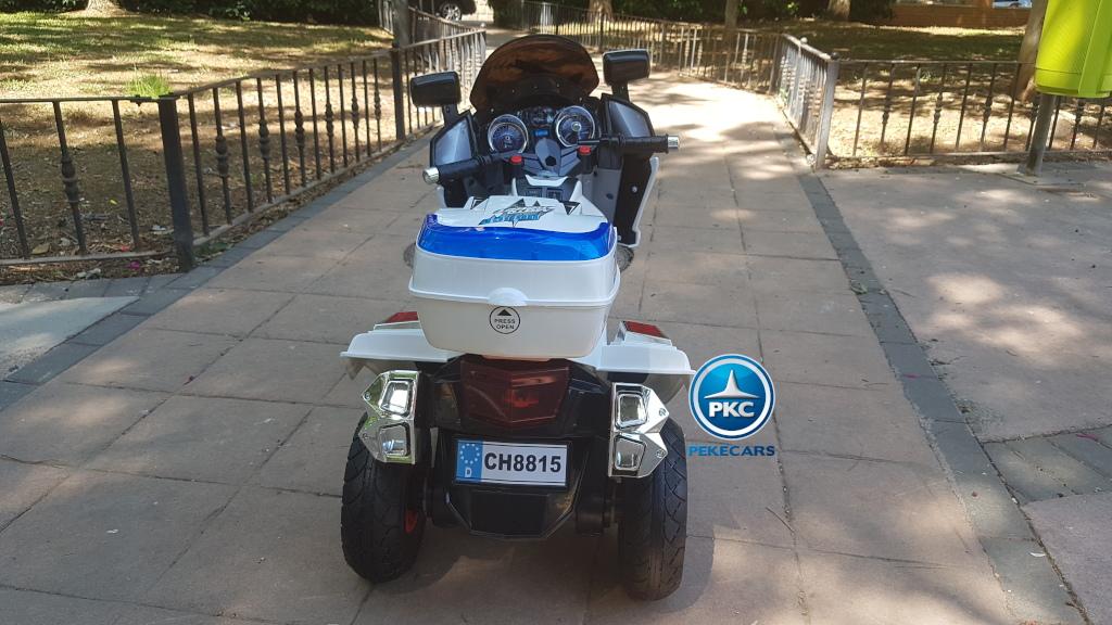 Moto electrica infantil de policia 12V Blanca