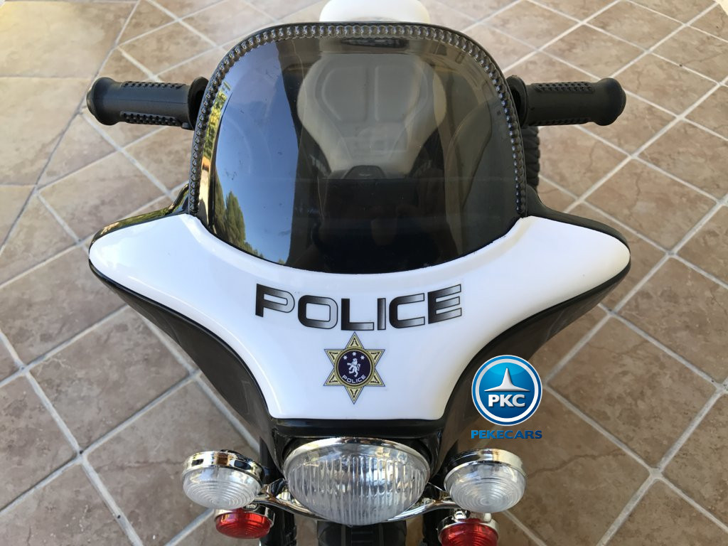 Trimoto electrica para niños de policia 6V Negra parabrisas
