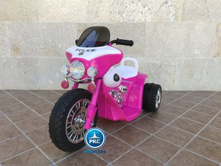 Trimoto electrica para niños de policia 6V Rosa vista principal