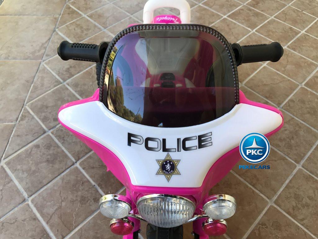 Trimoto electrica para niños de policia 6V Rosa parabrisas