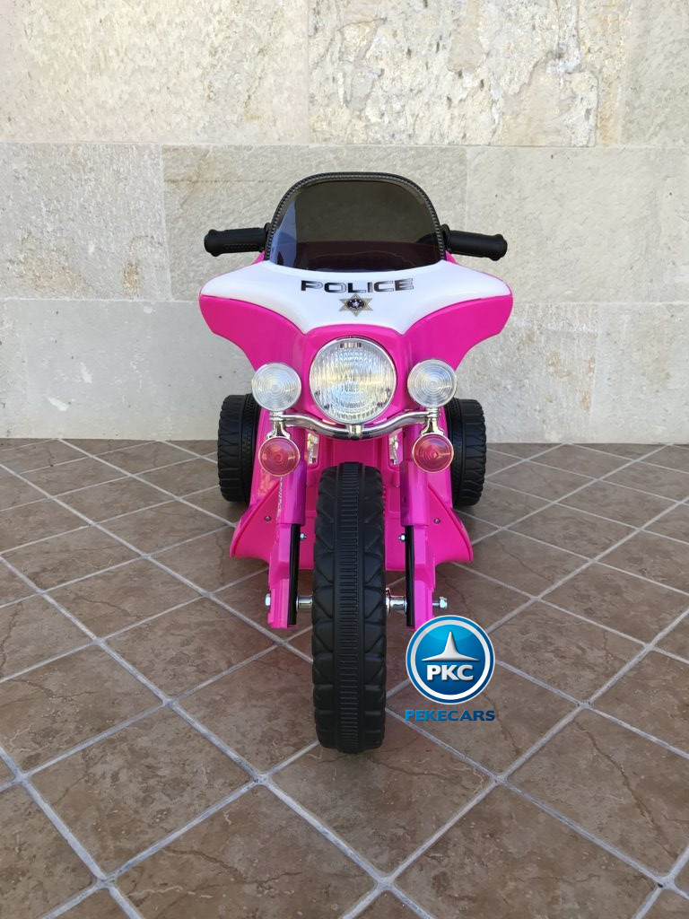 Trimoto electrica para niños de policia 6V Rosa vista frontal