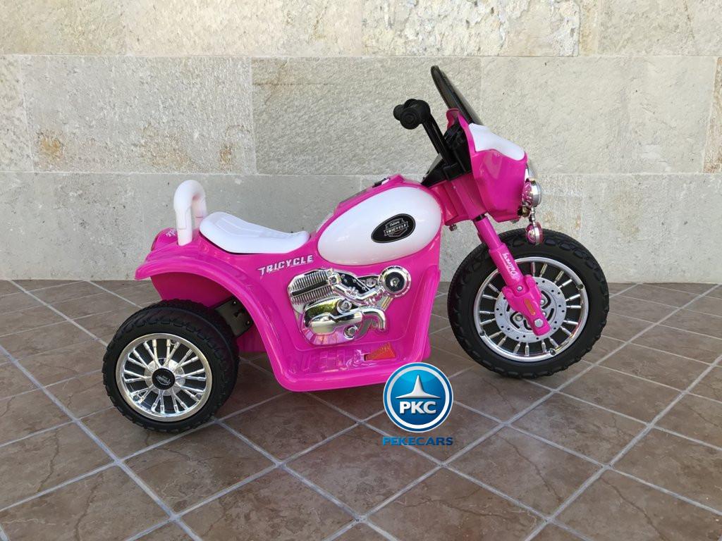 Trimoto electrica para niños de policia 6V Rosa lateral
