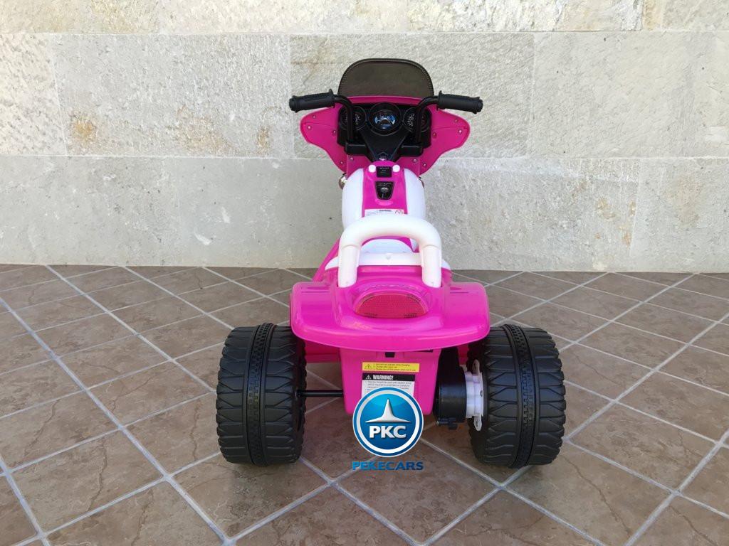 Trimoto electrica para niños de policia 6V Rosa trasera
