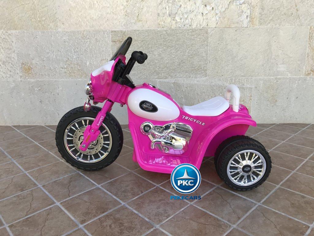 Trimoto electrica para niños de policia 6V Rosa