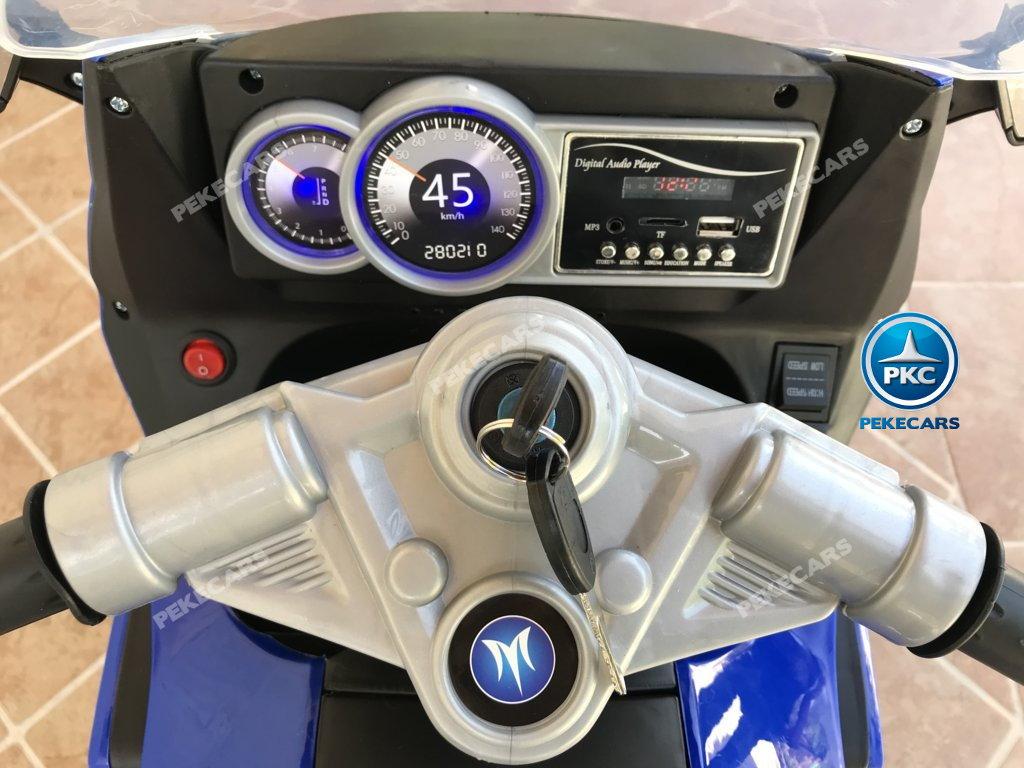 Moto electrica para niños BMW Style C 650 GT 12V Azul con llave de arranque