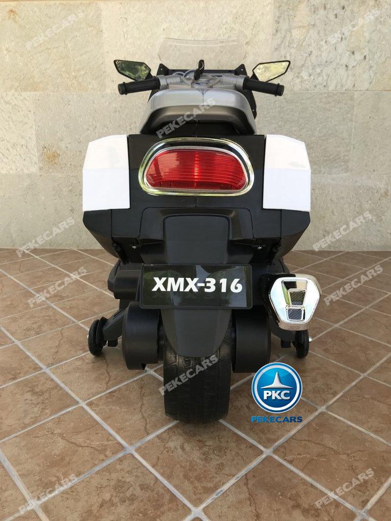 Moto electrica para niños BMW Style C 650 GT 12V Blanca vista trasera