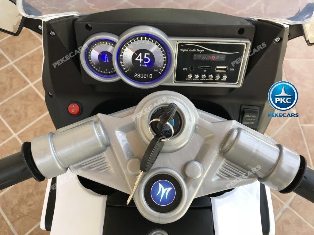 Moto electrica para niños BMW Style C 650 GT 12V Blanca con llave de arranque