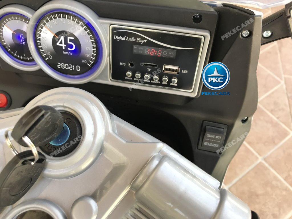 Moto electrica para niños BMW Style C 650 GT 12V Blanca conexion USB