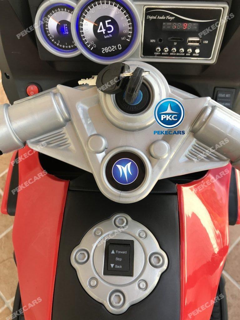 Moto electrica para niños BMW Style C 650 GT 12V Rojo con llave de arranque