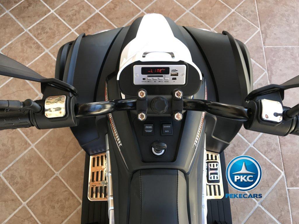 Quad Eléctrico Infantil Giga Quad 12V Blanco display con Bluetooth