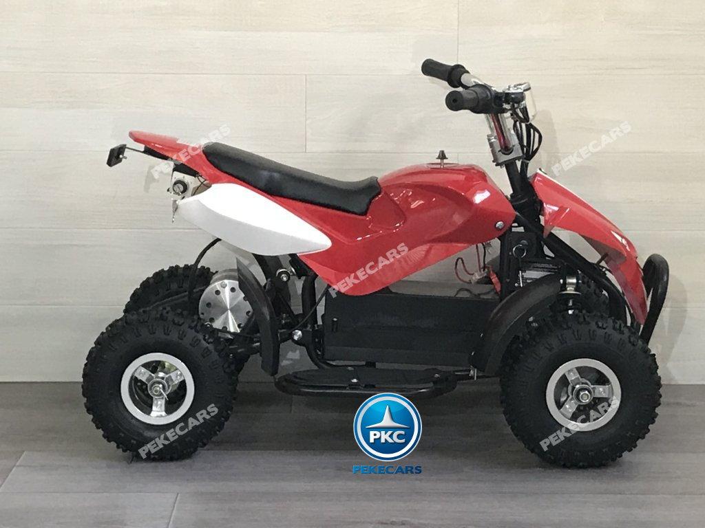 Quad eléctrico para niños mini atv 36V rojo y blanco lateral