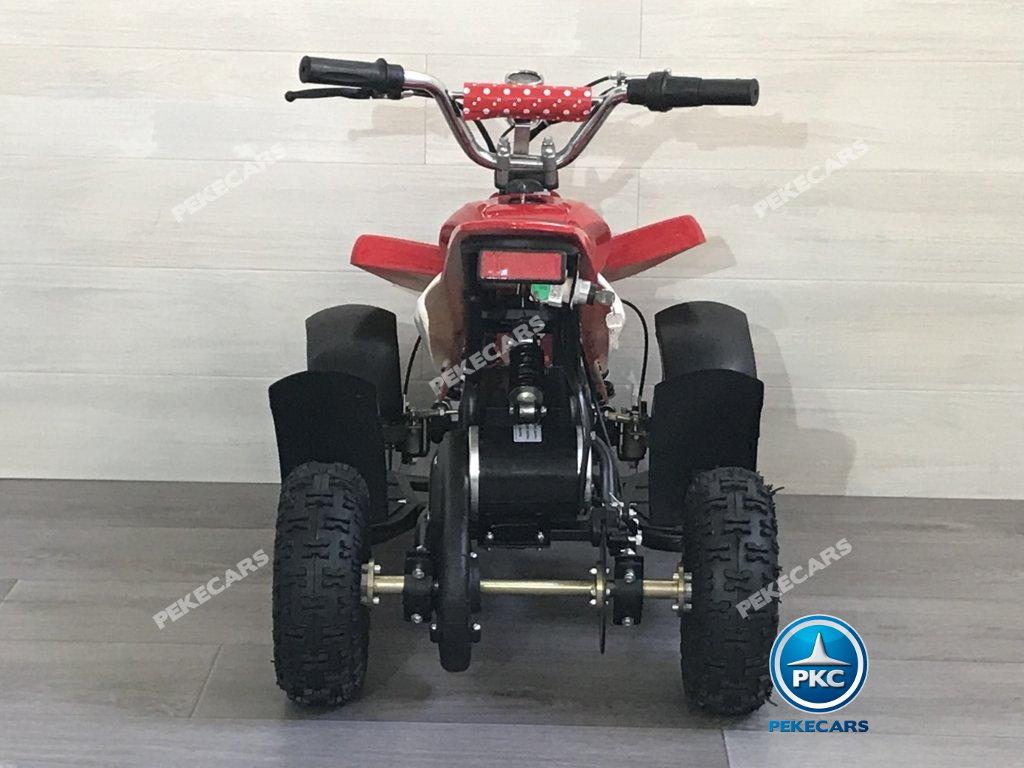 Quad eléctrico para niños mini atv 36V rojo y blanco vista frontal