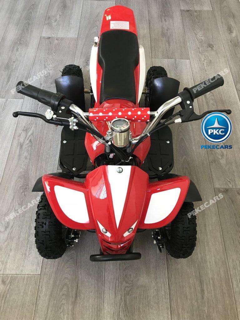 Quad eléctrico para niños mini atv 36V rojo y blanco visto desde arriba