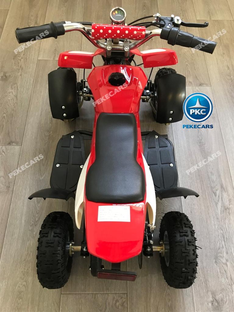 Quad eléctrico para niños mini atv 36V rojo y blanco asiento acolchado en piel