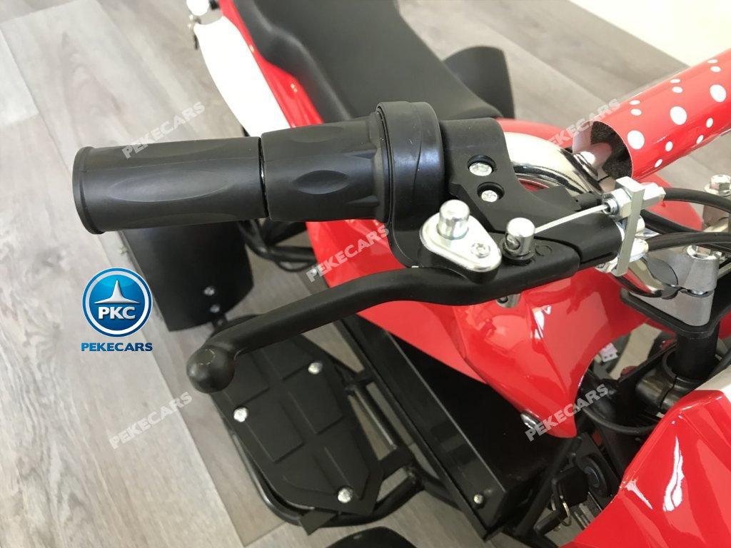 Quad eléctrico para niños mini atv 36V rojo y blanco freno