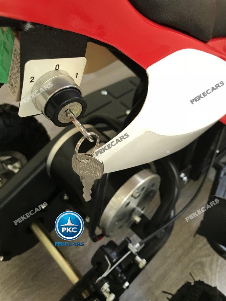 Quad eléctrico para niños mini atv 36V rojo y blanco bloqueo de velocidad con llave