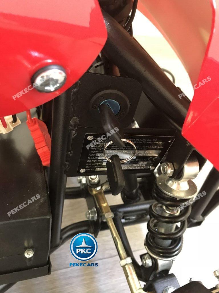 Quad eléctrico para niños mini atv 36V rojo y blanco llave de arranque