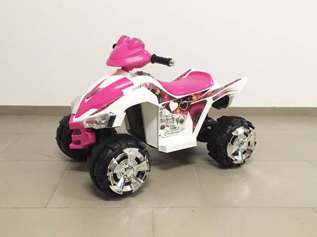 Quad eléctrico infantil Pekecars doble velocidad Rosa vista principal