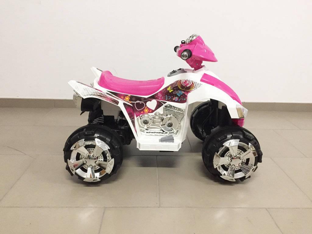 Quad eléctrico infantil Pekecars doble velocidad Rosa de lado