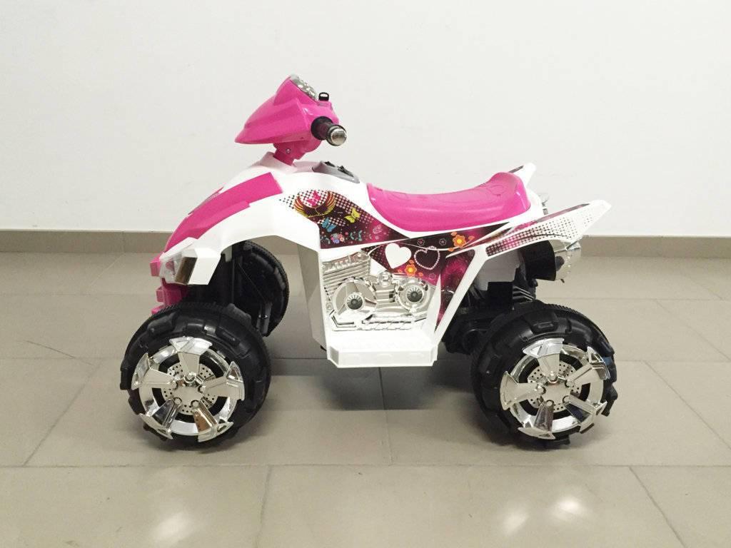 Quad eléctrico infantil Pekecars doble velocidad Rosa lateral