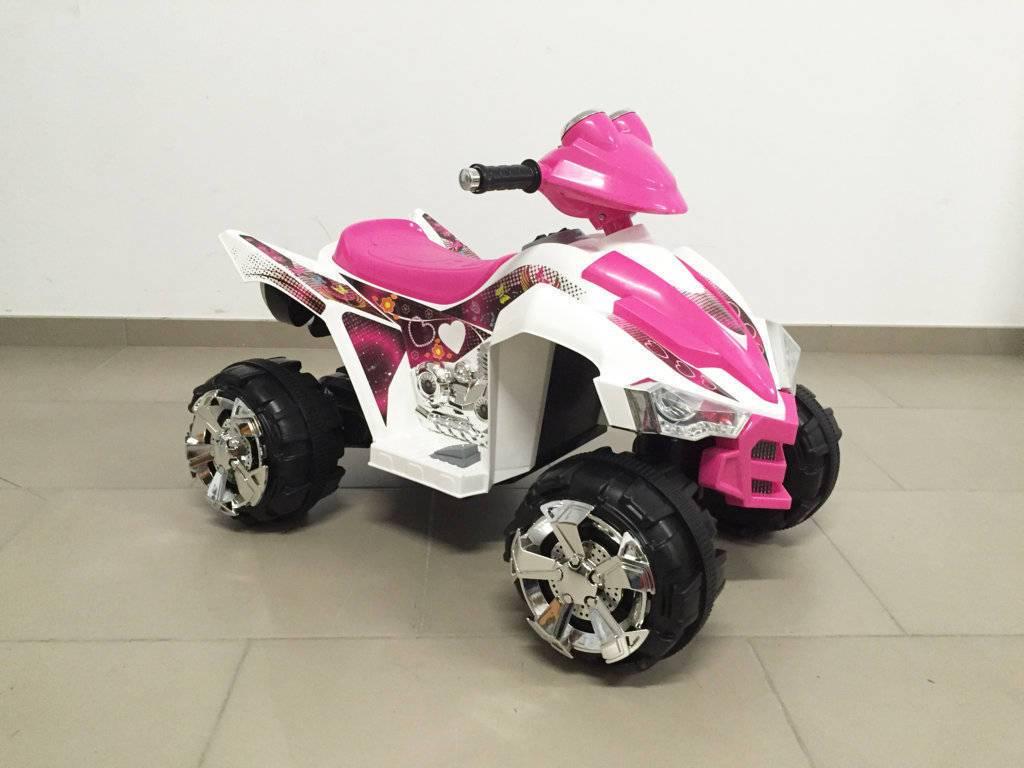 Quad eléctrico infantil Pekecars doble velocidad Rosa