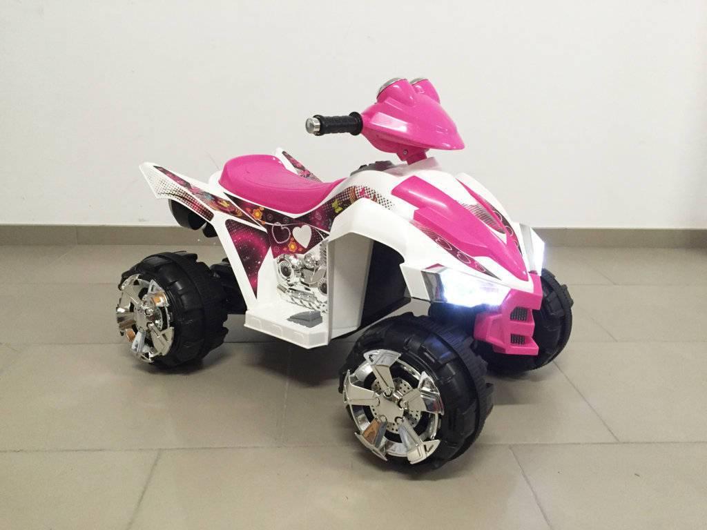 Quad eléctrico infantil Pekecars doble velocidad Rosa con doble motor