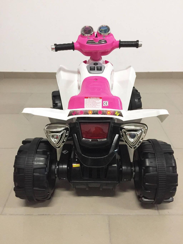 Quad eléctrico infantil Pekecars doble velocidad Rosa frontal