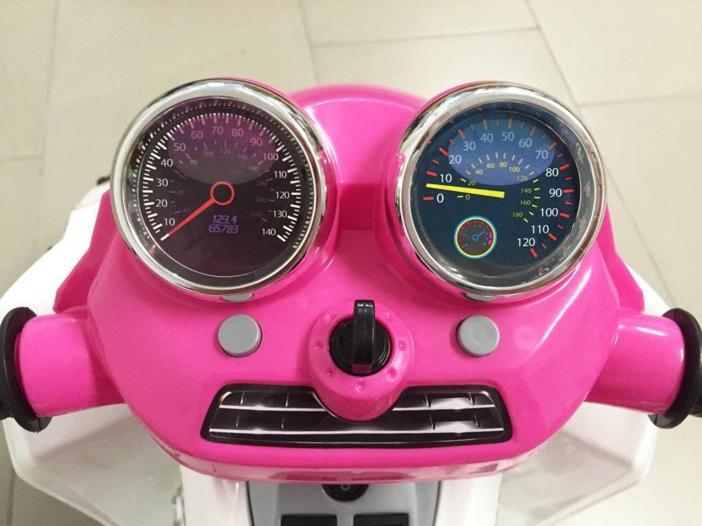 Quad eléctrico infantil Pekecars doble velocidad Rosa volante