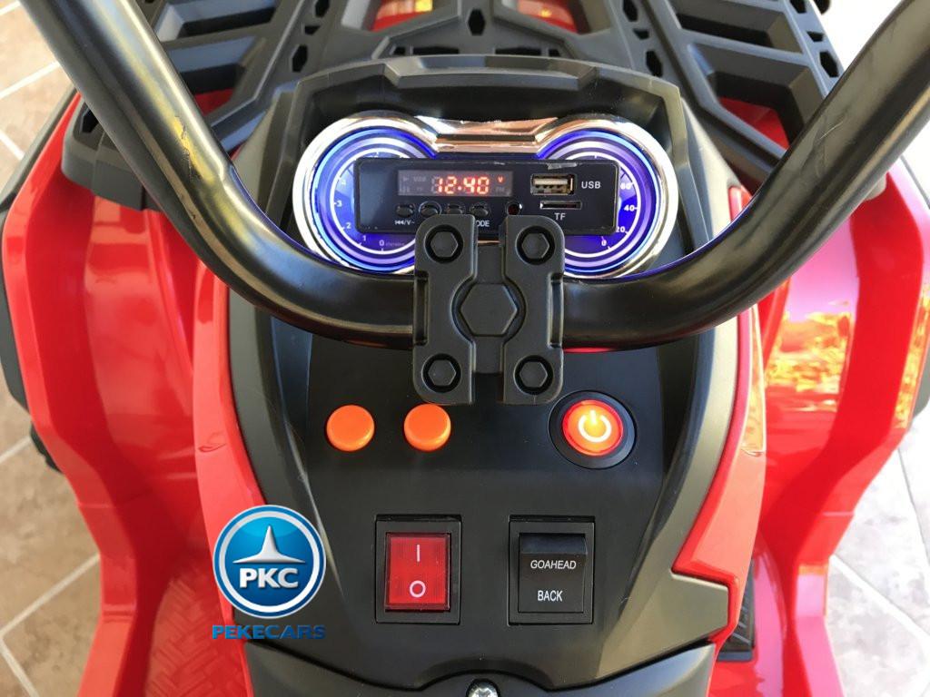 Quad Eléctrico Infantil Pekecars 906D Rojo display con conexión USB