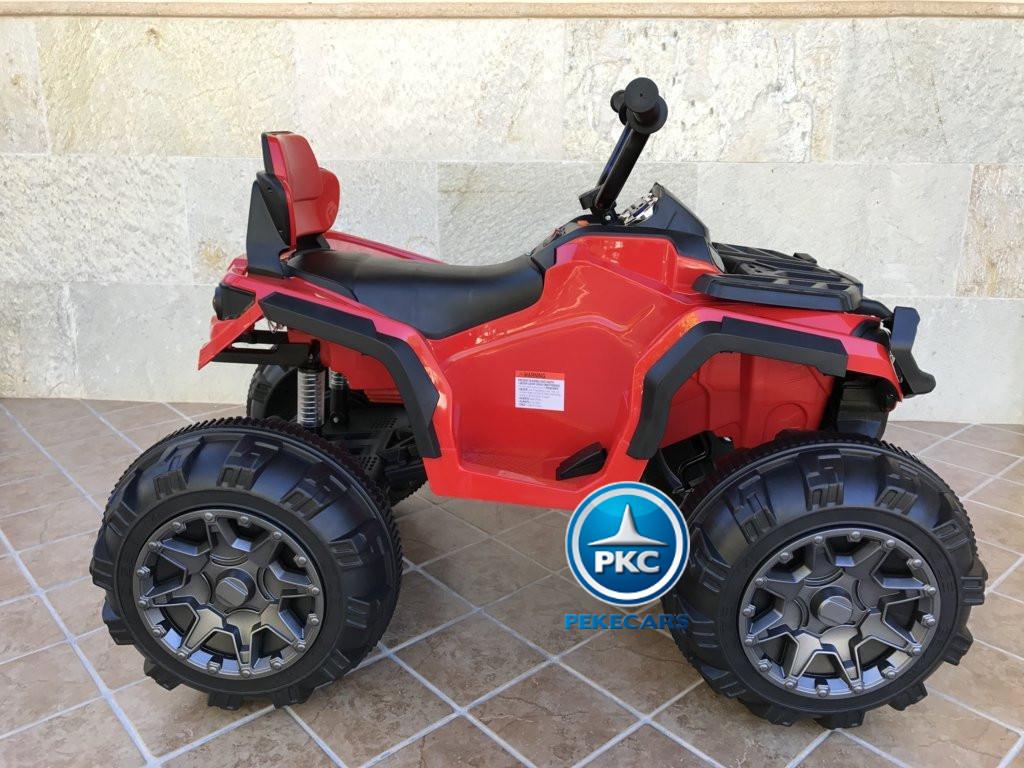 Quad Eléctrico Infantil Pekecars 906D Rojo vista lateral