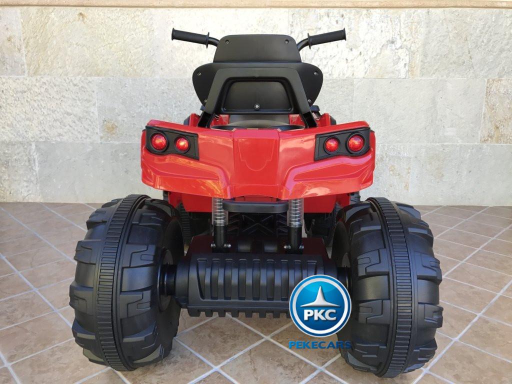 Quad Eléctrico Infantil Pekecars 906D Rojo vista trasera