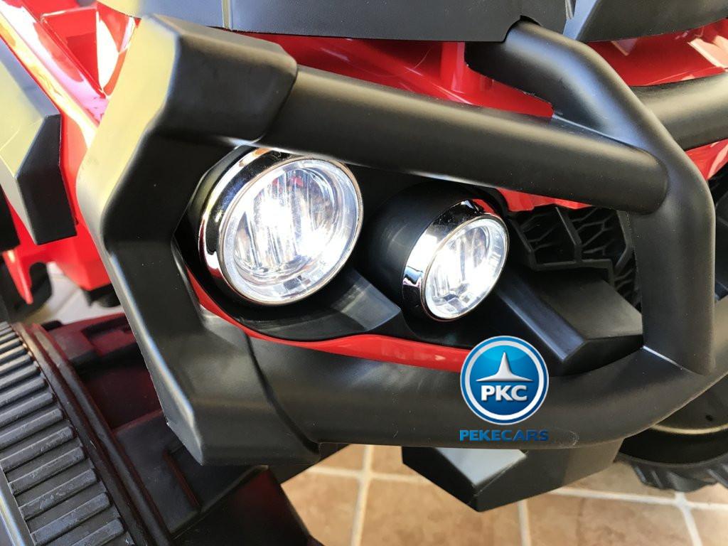 Quad Eléctrico Infantil Pekecars 906D Rojo luces delanteras