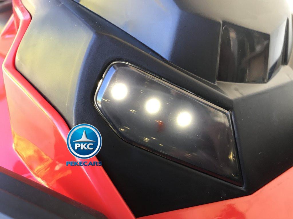 Quad Eléctrico Infantil Pekecars 906D Rojo luces bajo el manillar