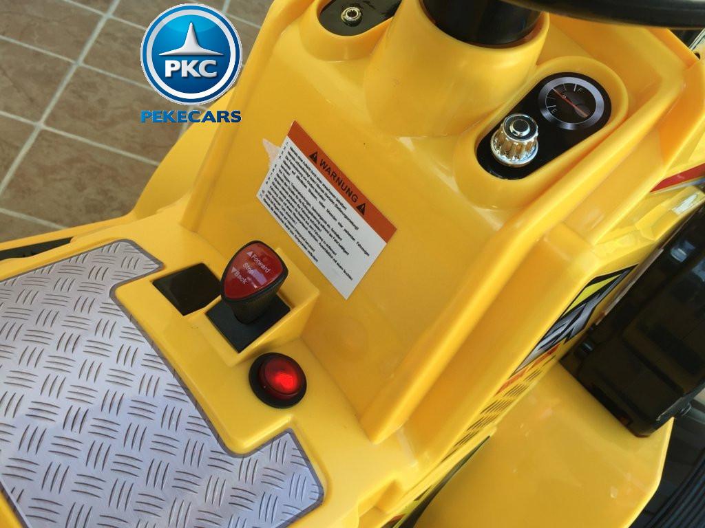 Tractor Eléctrico Infantil Speed Cat Style Amarillo boton de arranque